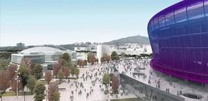 Imatge virtual del futur Espai Barça, que s'ubicarà al costat del nou Camp Nou.