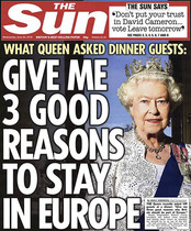 Portada del The sun con la supuesta pregunta lanzada por Isabel II.