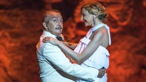 Xavier Ruano y Anna Moliner, en el espectáculo de homenaje a Xavier Cugat, en el Grec.