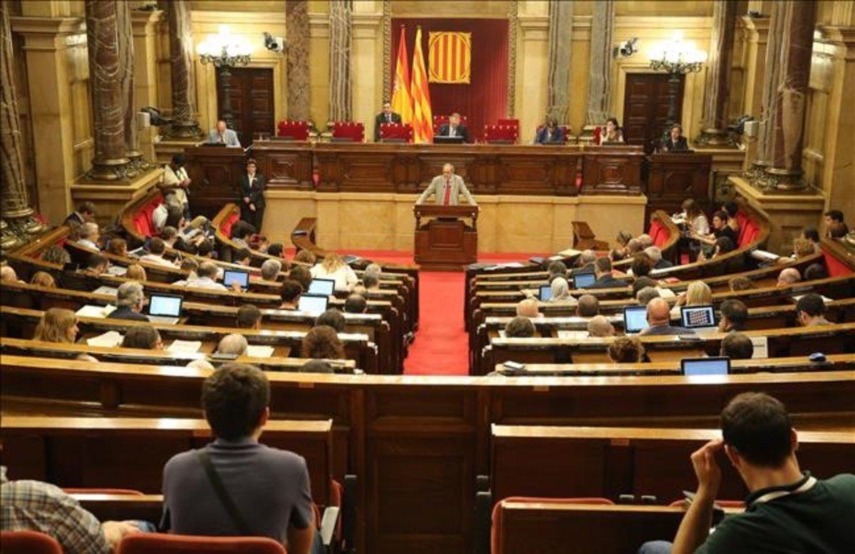 Intervención del 'president' de la Generalitat, Quim Torra, en el Parlament.