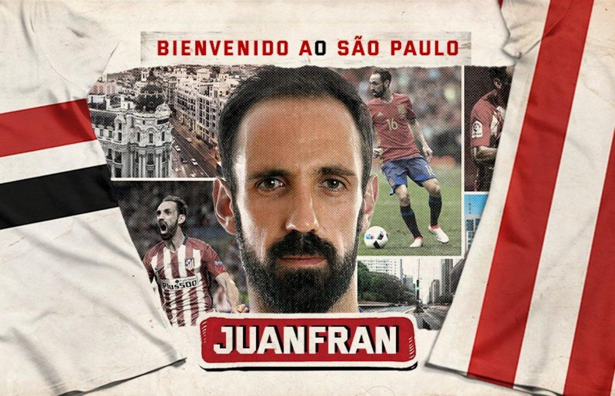 Juanfran, presentado por el Sao Paulo en las redes sociales.