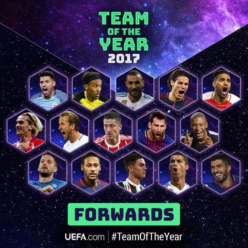 La lista de mejores delanteros europeos nominados al 11 ideal de la UEFA en el 2017.