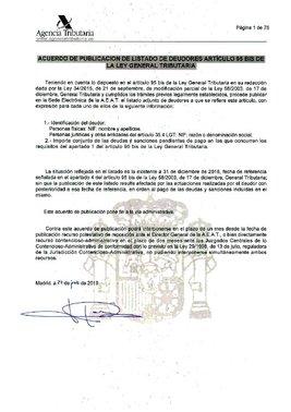 Lista de morosos con Hacienda 2019.
