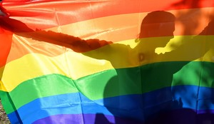 Un manifestante tras la bandera arcoiris en la Gay Parade de Kiev, en el 2013.