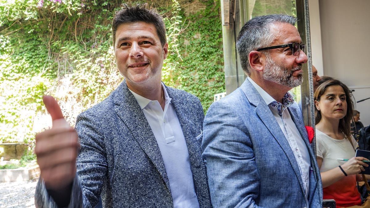 Mauricio Pochettino, en la presentación del libro Un mundonuevo junto al periodista Guillem Balagué.