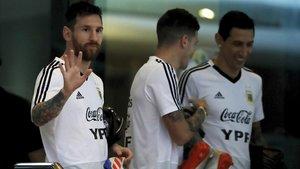 Messi, en Salvador preparando la Copa América con Argentina.
