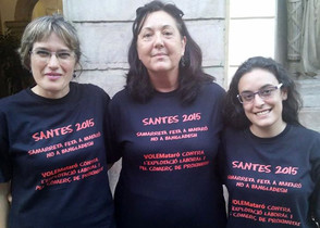 Montse Morón, Ana María Caballero y Sarai Martínez en julio de 2015, cuando compartían el grupo municipal de VoleMataró en el Ayuntamiento.