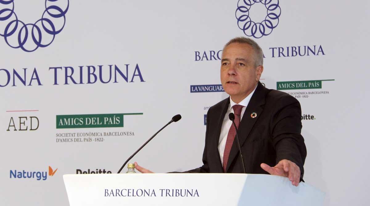 Pere Navarro, delegado especial del Estado en el CZFB, interviene en el almuerzo-coloquio Tribuna Barcelona.