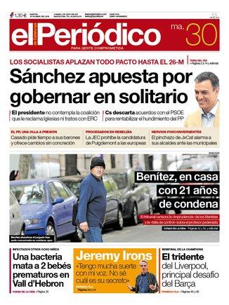 La portada de EL PERIÓDICO del 30 de abril del 2019