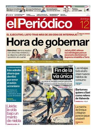 La portada de EL PERIÓDICO del 12 de enero del 2020