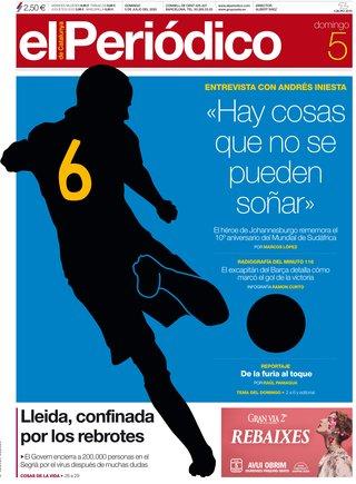 La portada de EL PERIÓDICO del 5 de julio del 2020.