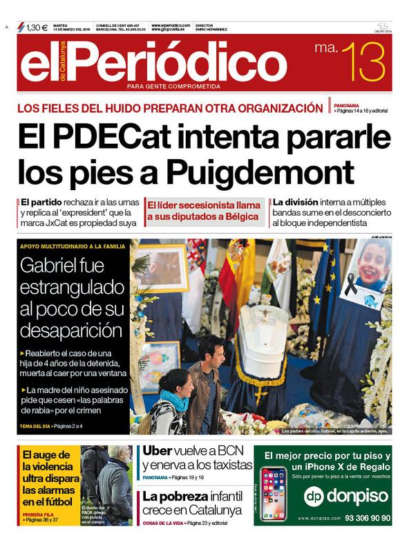 La portada de EL PERIÓDICO del 13 de marzo del 2018