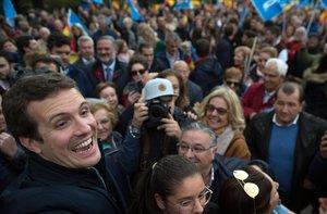 El presidente del PP, Pablo Casado, en un mitin celebrado en Granada.