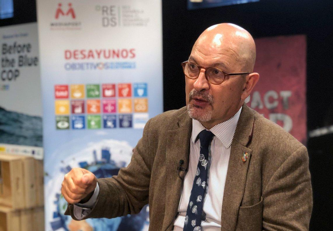 Rémi Parmentier en la jornada 'COP25, la COP azul: el océano y el clima' organizada por Mediapost yla Red Española para el Desarrollo Sostenible.