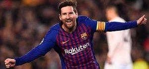 Messi, tras marcar ante el Manchester United en la Champions.