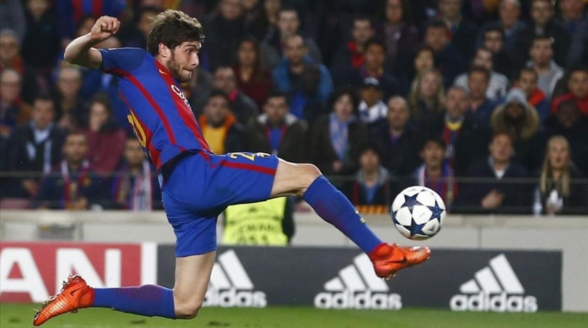 Sergi Roberto, en el Barça-PSG, partido cuyo resumen televisivo fue lo más visto en Catalunya enmarzo.