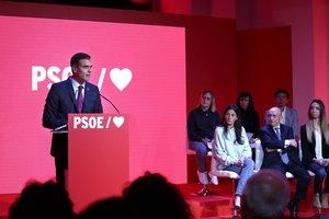 El presidente del Gobierno, Pedro Sánchez, durante la presentación de la precampaña del PSOE para las elecciones del 28-A.