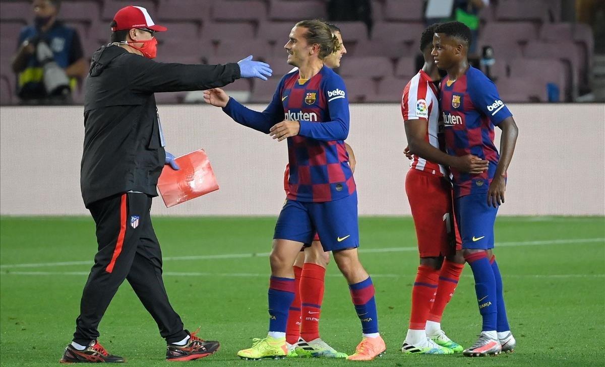 Antoine Griezmann, el martes, en el Camp Nou.