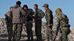 Soldados apoyados por Estados Unidos en Siria.