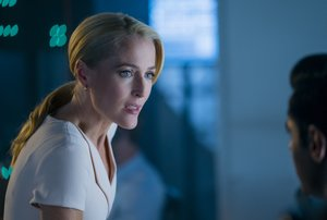 This image released by Lionsgate shows Gillian Anderson in a scene from The Spy Who Dumped Me. (Hopper Stone/Lionsgate via AP)