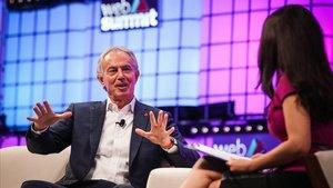 Tony Blair, durante su discurso en la Web Summitt de Lisboa