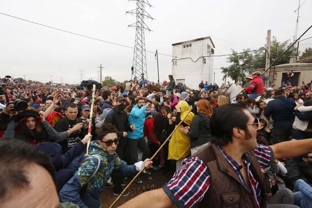 Anti-taurinos y defensores del toro de la Vega se enfrentan justo antes de la suelta del toro Rompesuelas.