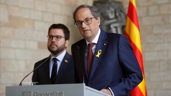 Quim Torra y Pere Aragonès, en la rueda de prensa conjunta que han ofrecido este viernes.