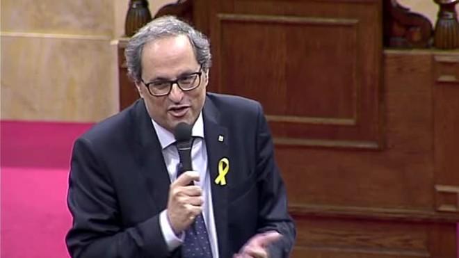 El president de la Generalitat, Quim Torra, explica queconjuntamente con Puigdemont y Mas han enviado una carta al rey Felipe VI.