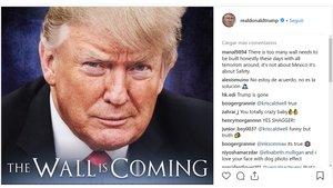 Imagen del peculiar mensaje de Donald Trump en su cuenta de Instagram.