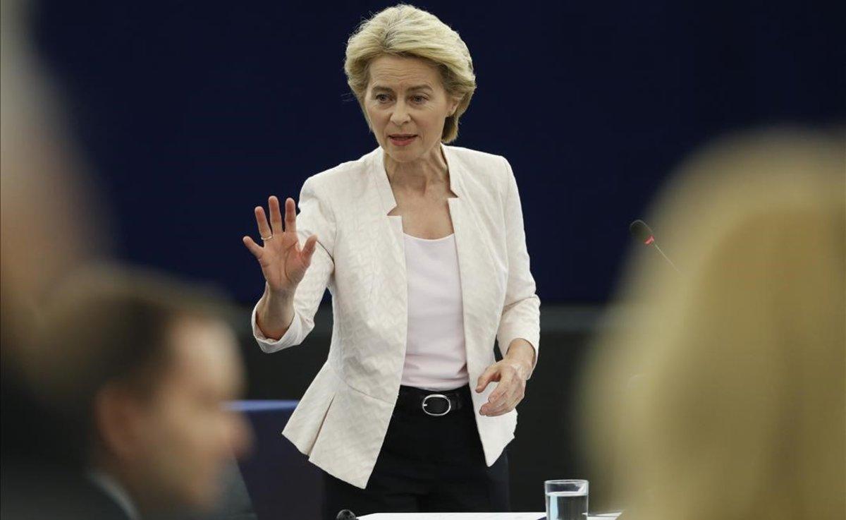 Ursula von der Leyen, en su comparecencia en la Eurocámara.