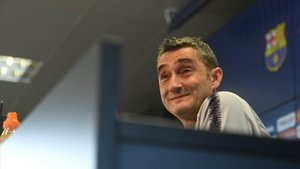Valverde, en la sala de prensa de la ciudad deportiva de Sant Joan Despí
