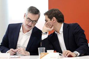 Albert Rivera y José Manuel Villegas en la reunión del Comité Ejecutivo de Ciudadanos.