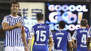 Xabi Prieto, en el partido de esta temporada ante el Villarreal.