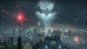 Detalle del murciélago de Batman, en un videojuego del personaje de la DC Comics.