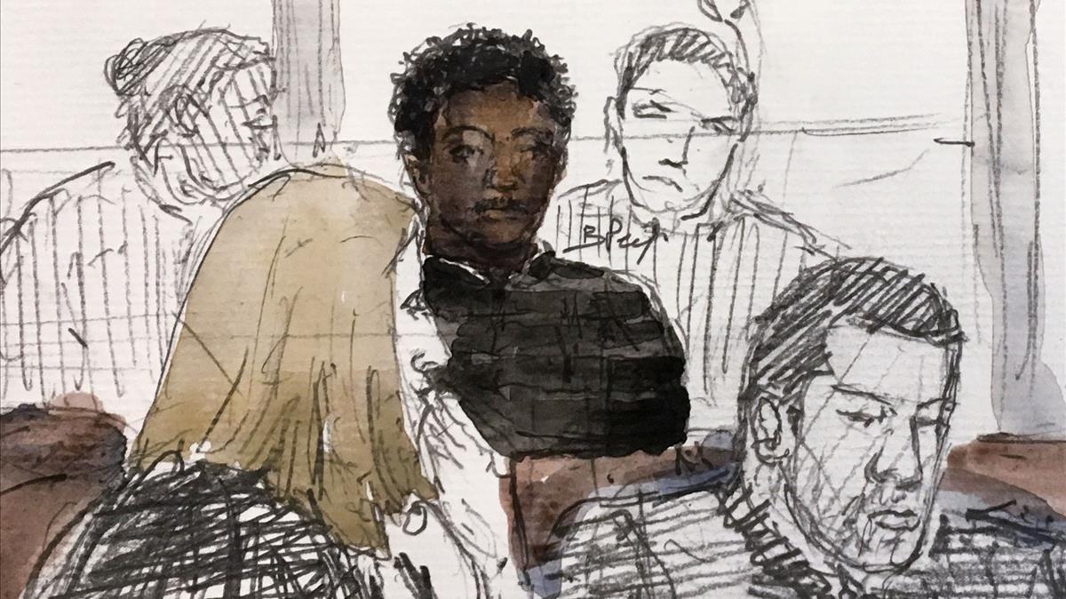 Una ilustración del juicio que se celebra en Pontoise.