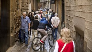 Un grupo de turistas pasea por la calle de Montcada.