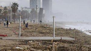 Estragos de la borrasca 'Gloria' en el litoral barcelonés, el pasado 23 de enero.