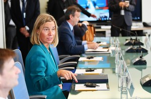 European Union Foreign Affairs and Security Policy High Representative Federica Mogherini is seen at the start of a meeting on Libya hosted by Frances Foreign Minister Jean-Yves Le Drian on the sidelines of the UN General Assembly in New York. (Photo by MANDEL NGAN / AFP)
