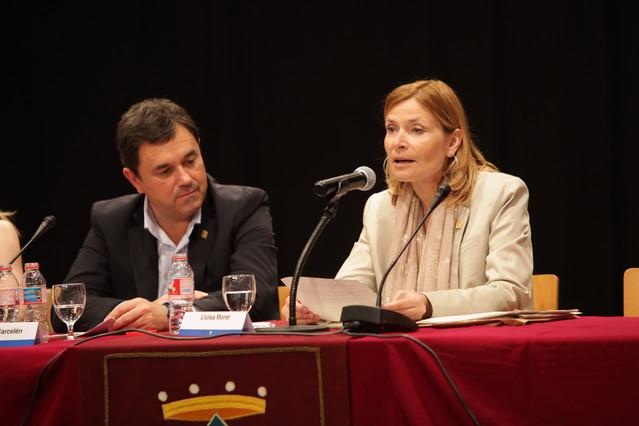 La alcaldesa, Lluïsa Moret, durante su discurso de investidura.