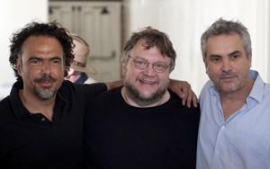Alejandro González Iñárritu, Guillermo del Toro y Alfonso Cuarón, en Los Ángeles en el 2012.