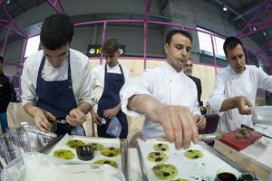 Mateu Casañas, Eduard Xatruch y Oriol Castro, en la última edición de Alimentaria, en el 2016.