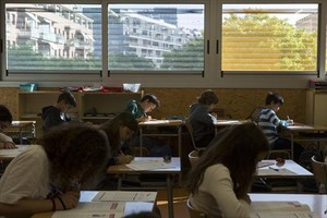 Alumnos de sexto de primaria del colegio Pere IV, en Barcelona,durante las pruebas de competencias básicas del pasado mayo.