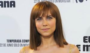 La actriz Aura Garrido, en la presentación en Madrid de la serie de Movistar+ El día de mañana.