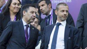 Bartomeu y Ceferin, presidente de la Uefa, en Barcelona.