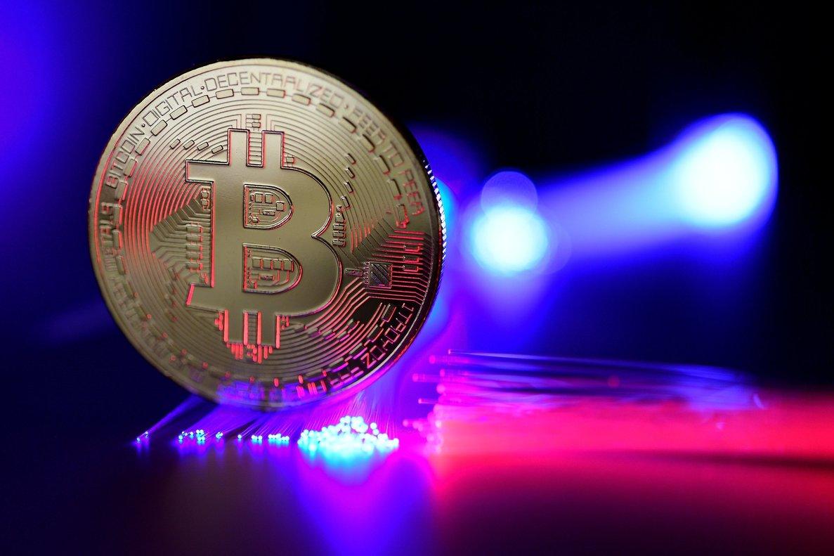 Vista de un bitcoin.