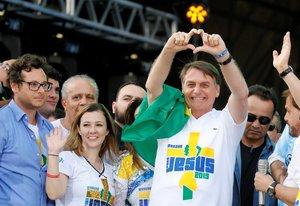 El presidente de Brasil, Jair Bolsonaro, en un evento religioso.