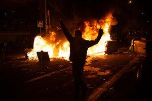 Imagen de los incidentes junto al Camp Nou.