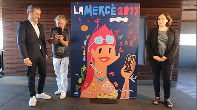 Jaume Collboni, Javier Mariscal y Ada Colau, frente al 'olímpico' cartel de la Mercè 2017.
