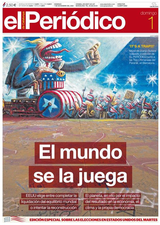 La portada de EL PERIÓDICO de l'1 de novembre del 2020
