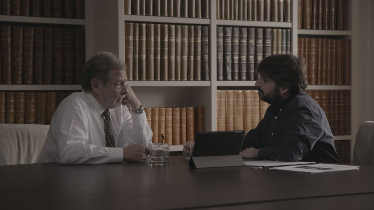 Juan Luis Cebrián y Jordi Évole, en un momento de la entrevista de Salvados.